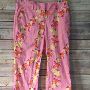 LILLY PULITZER PinkFloral Capri Cropped Pants